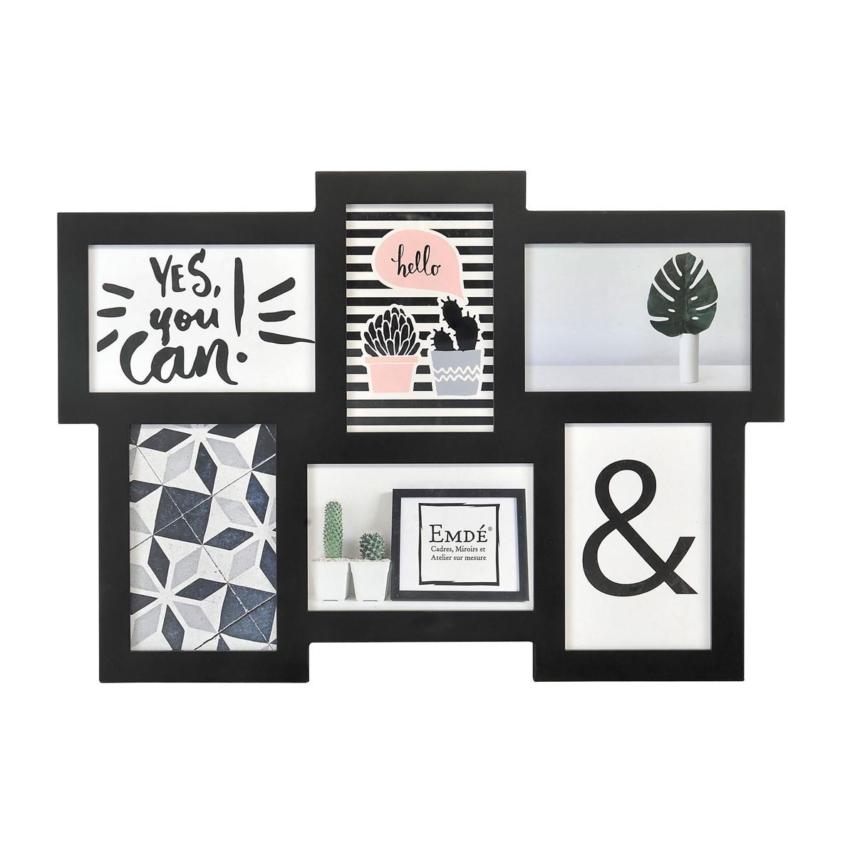 Cadre multivues plat 6 photos en bois noir 15x10