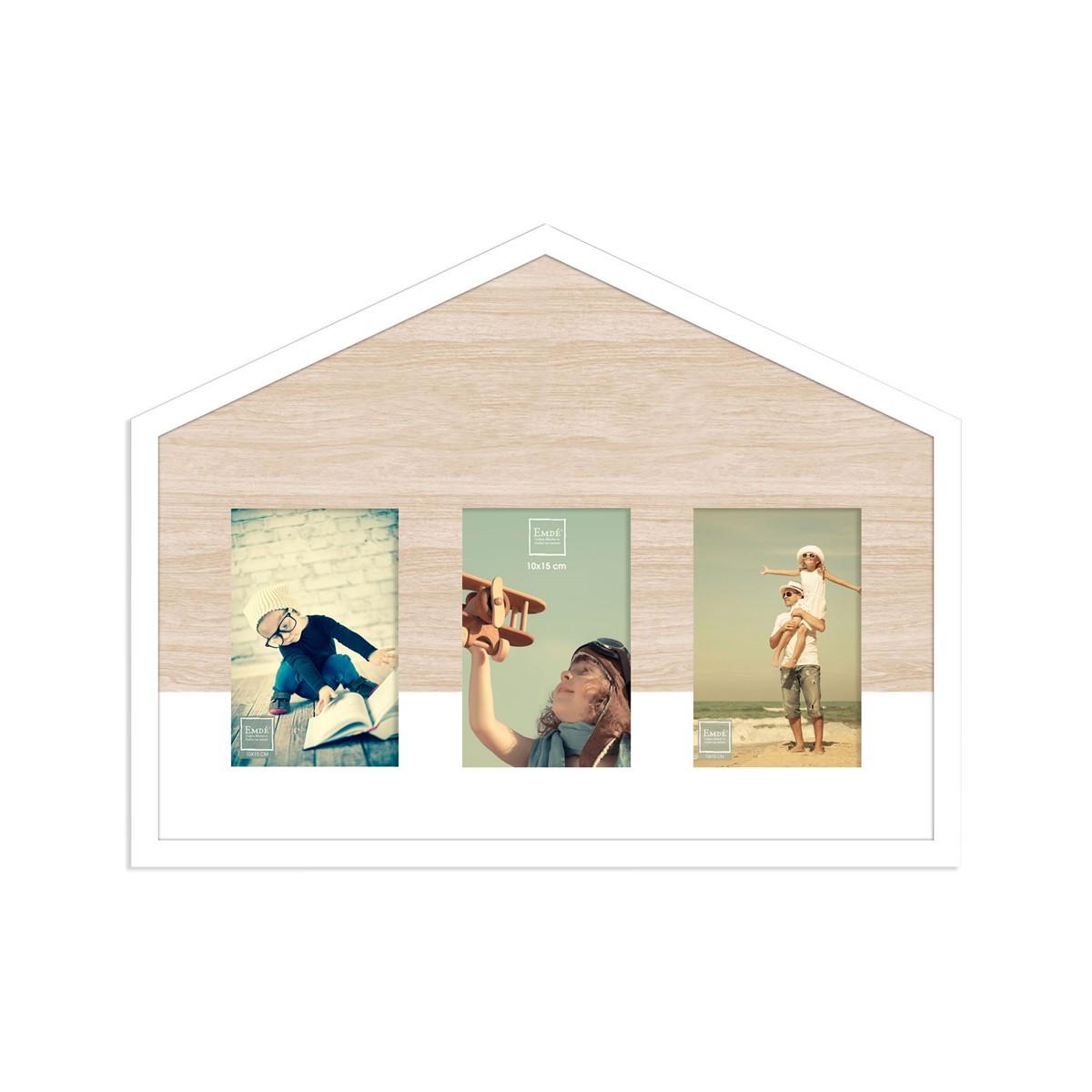 Cadre maison 3 photos en bois blanc 10x15cm