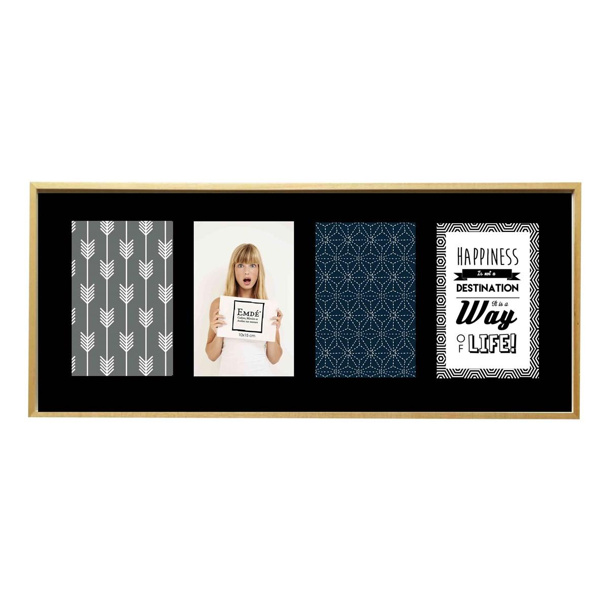 Cadre multivues élégant 4 photos en bois noir 49x21