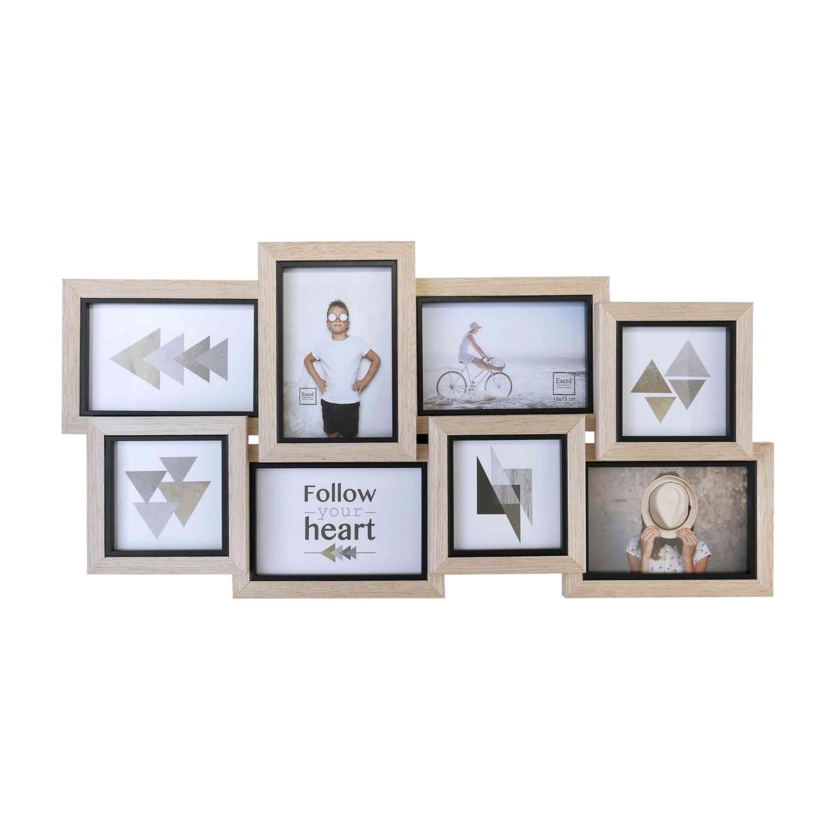 Cadre multivues liserés 8 photos en bois noir 61x30