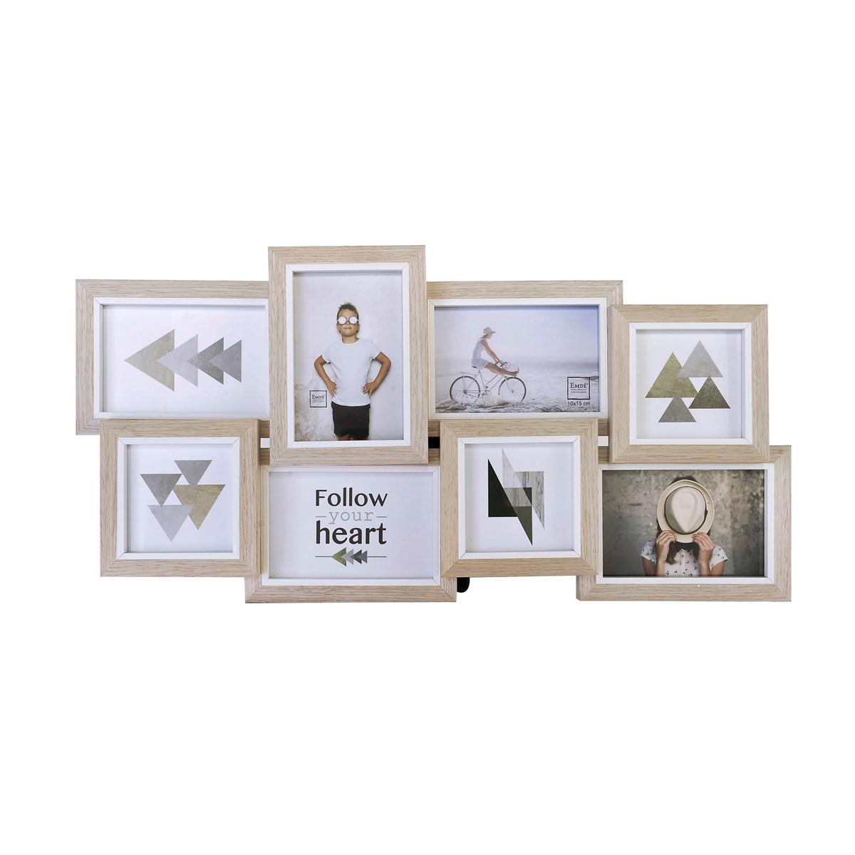 Cadre multivues liserés 8 photos en bois blanc 61x30
