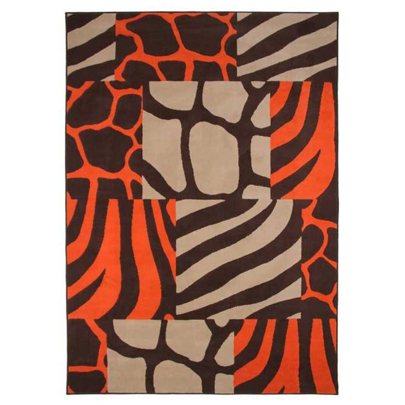 Tapis motif patchwork ethnique marron et orange 160x230
