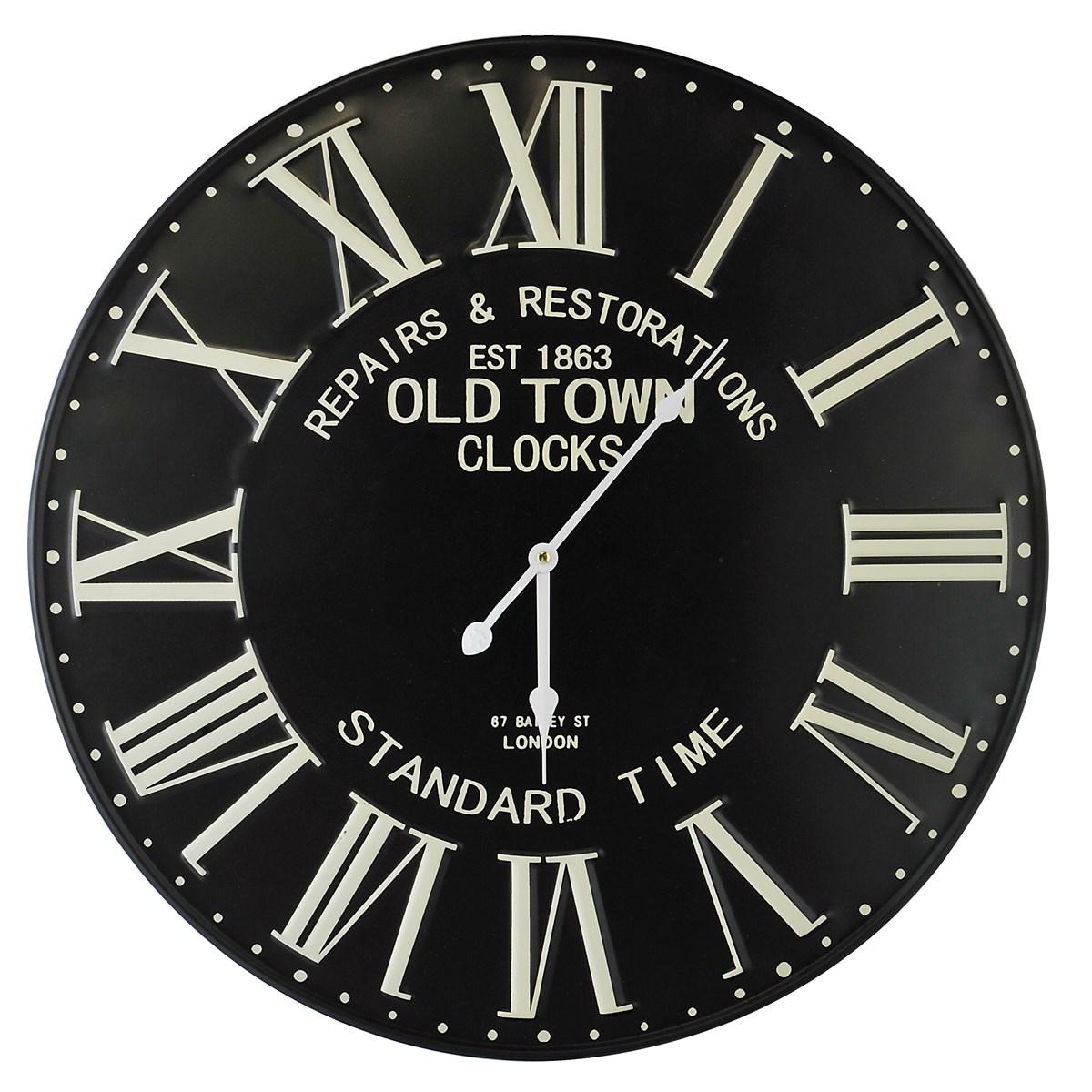 Horloge murale métal noir D58