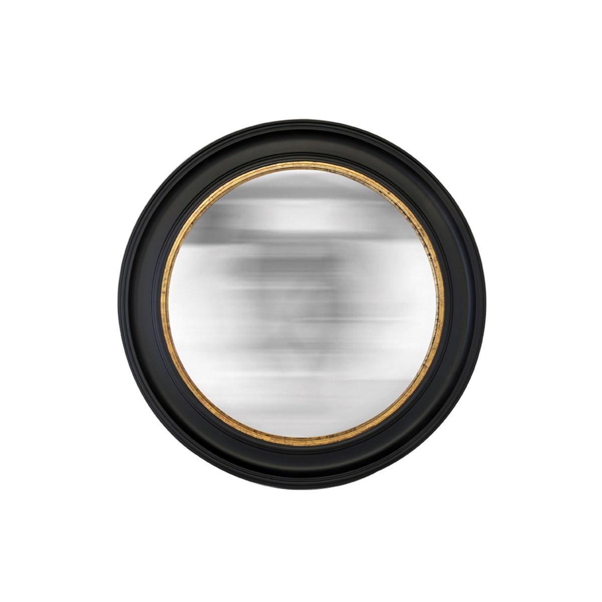 Miroir rond noir convexe en résine noire D80