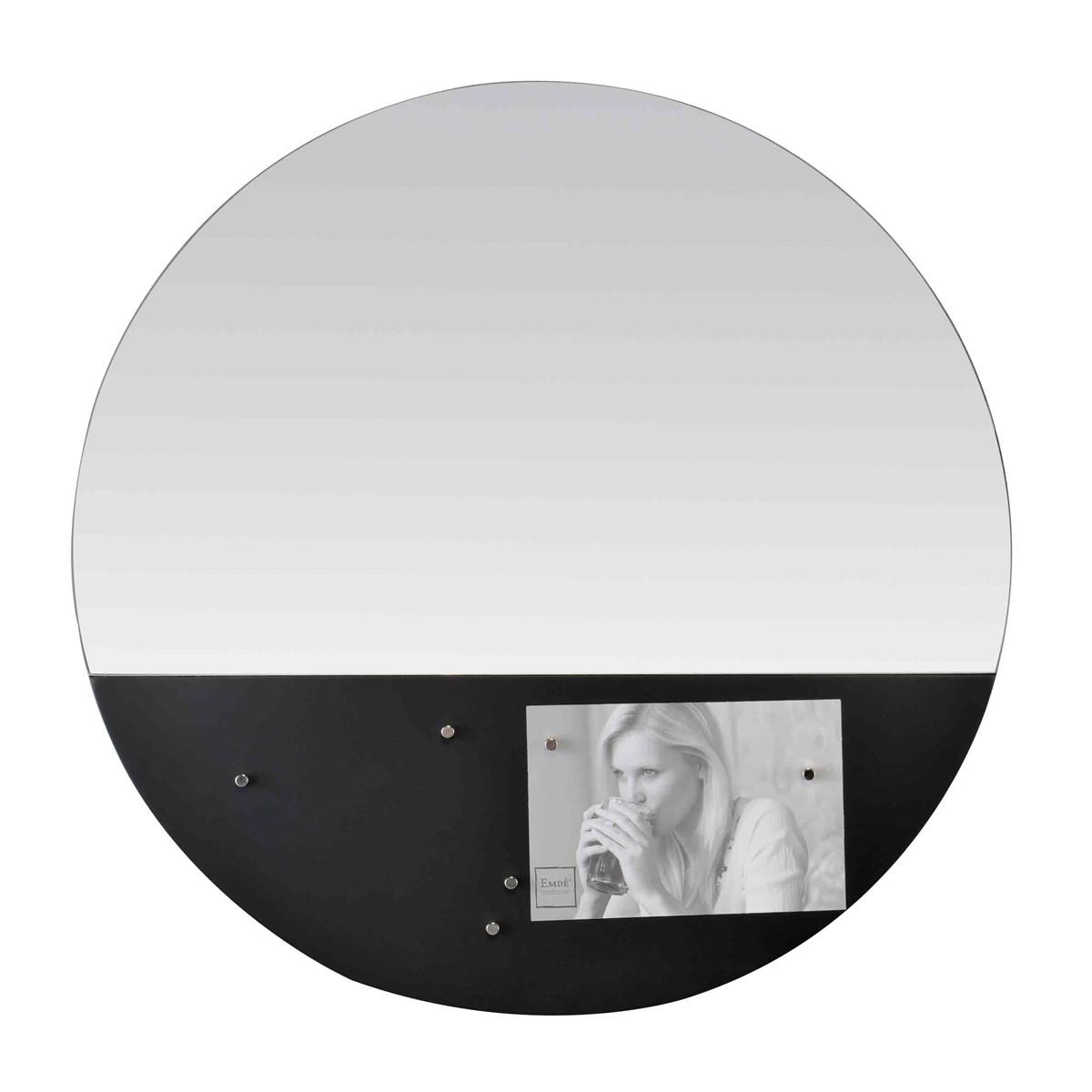 Miroir rond memo board magnétique en verre noir D45