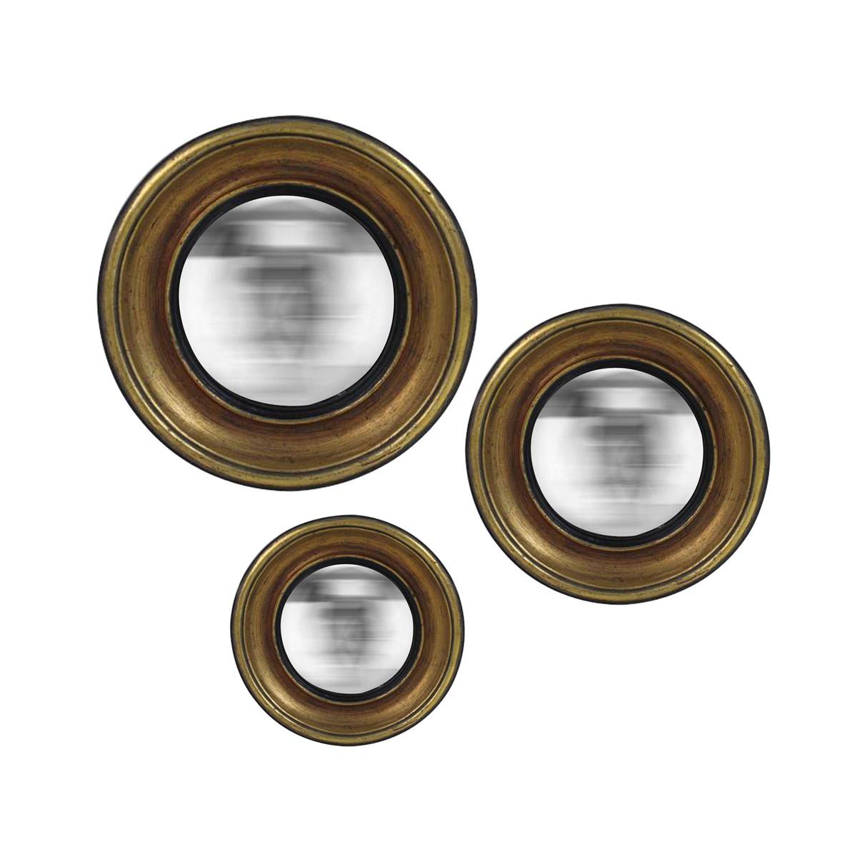 Lot de 3 miroirs convexes en résine dorée D16, 19 et 23