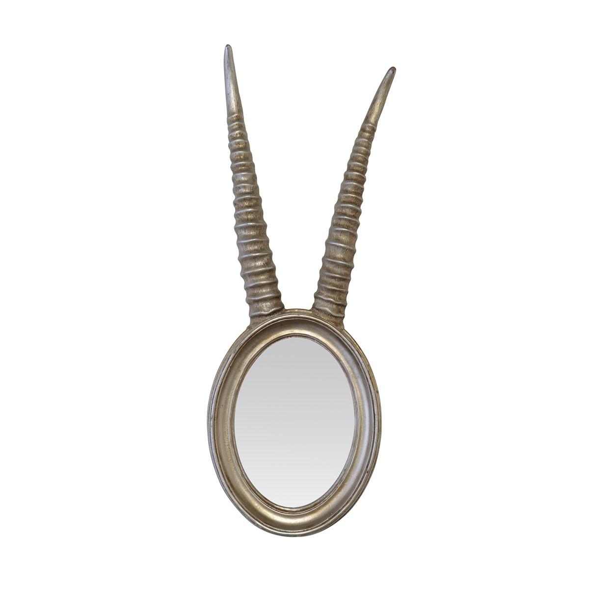 Miroir à cornes de gazelle en résine argentée 17x48