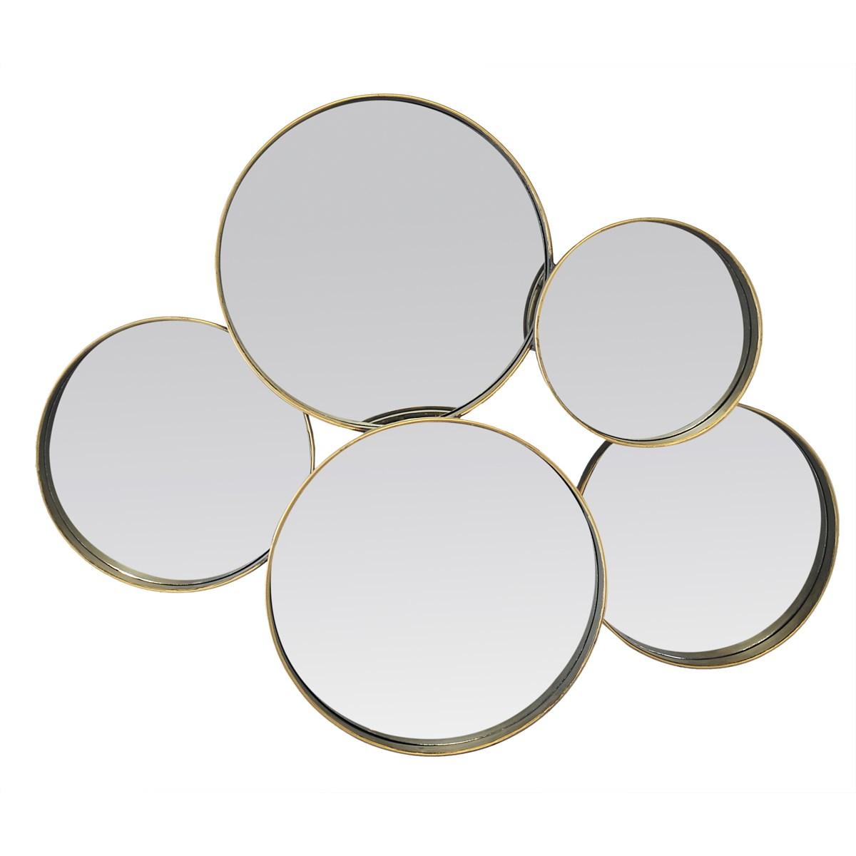 Miroir multi rond en métal noir 6x60x11