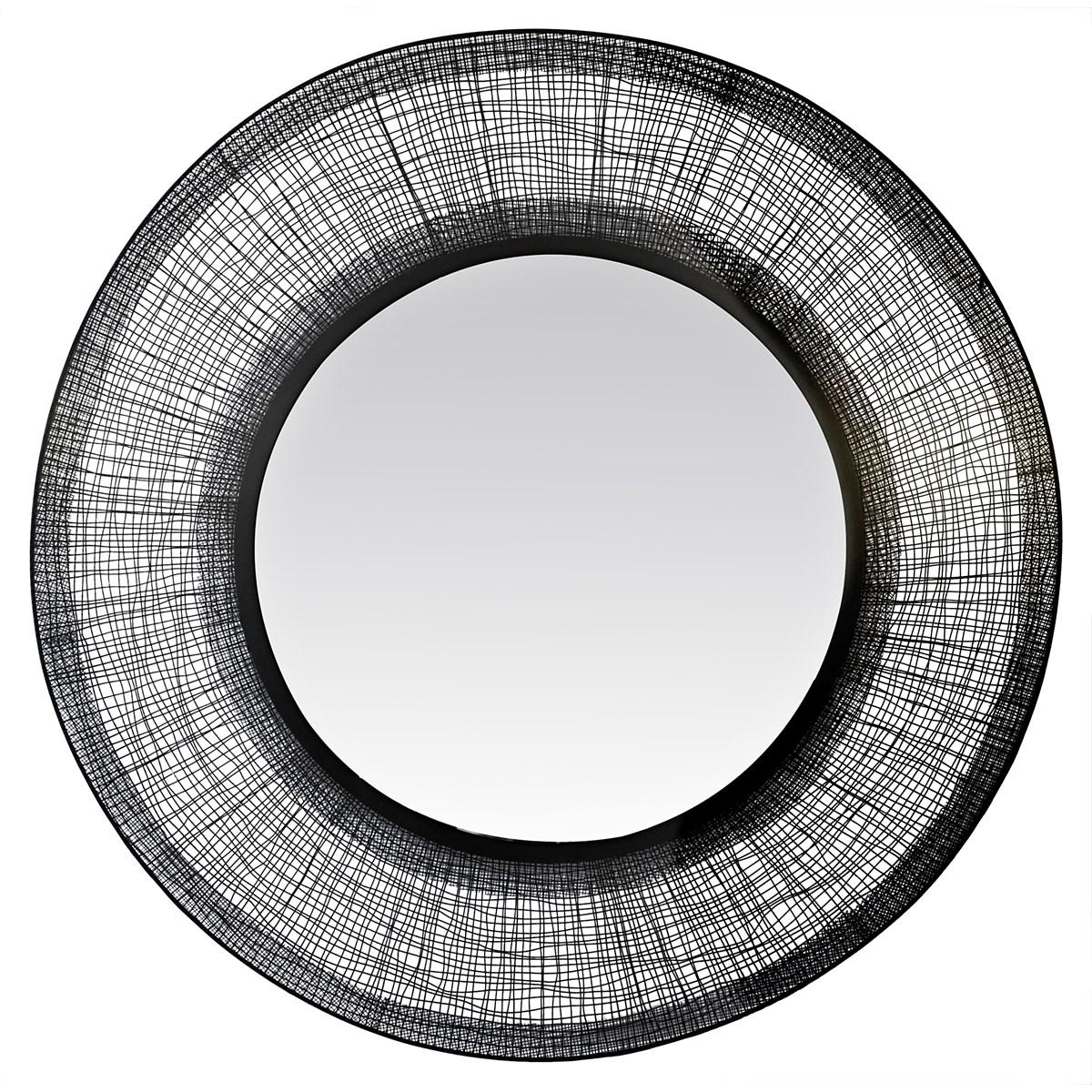 Miroir rond noir contour filaire D90