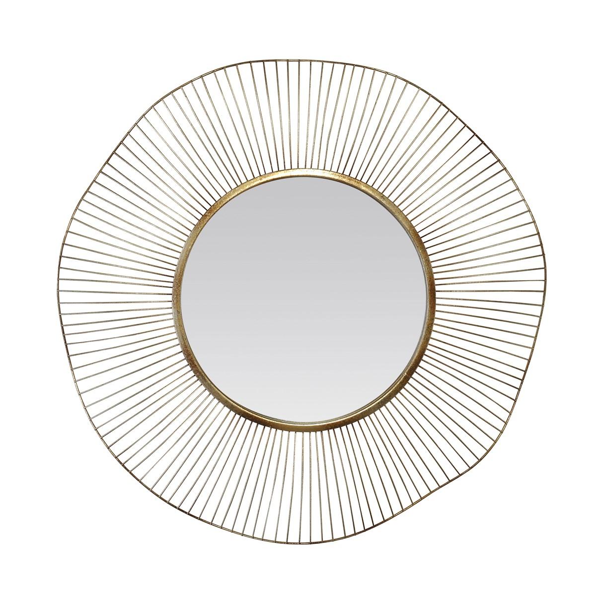 Miroir design rond en métal doré D75