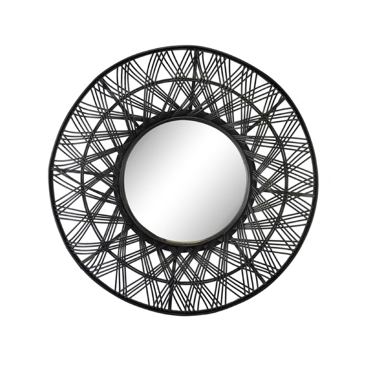 Miroir rond ethnique en rotin noir D80