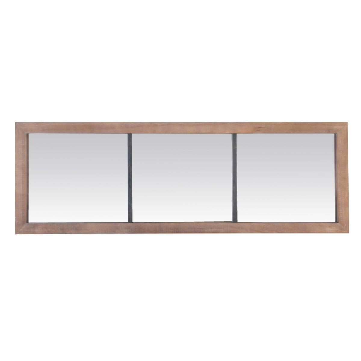 Miroir 3 bandes en métal et bois marron 150x50