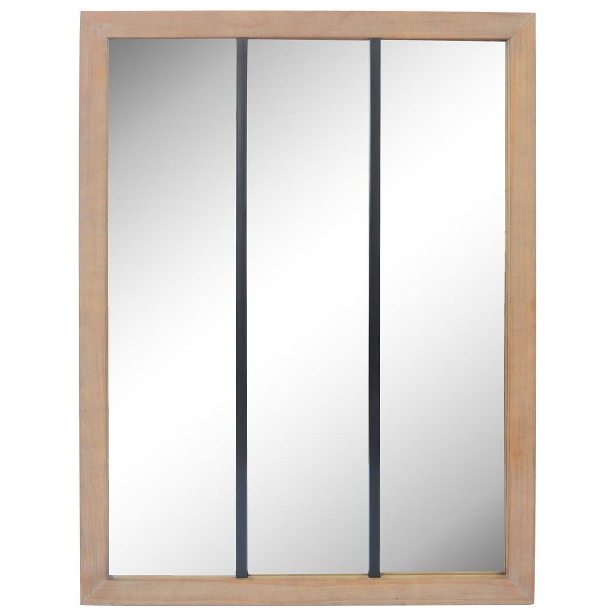 Miroir 3 bandes en bois marron et métal 85x113