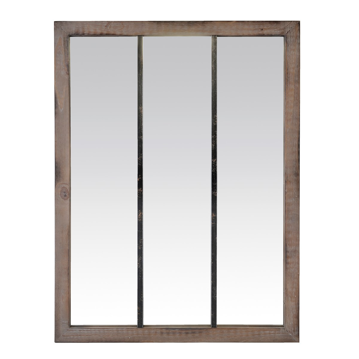Miroir 3 bandes en bois marron foncé et métal 85x113