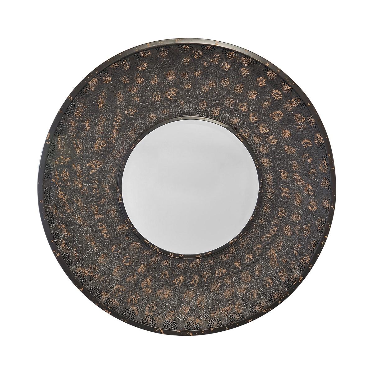 Miroir rond en métal noir D80