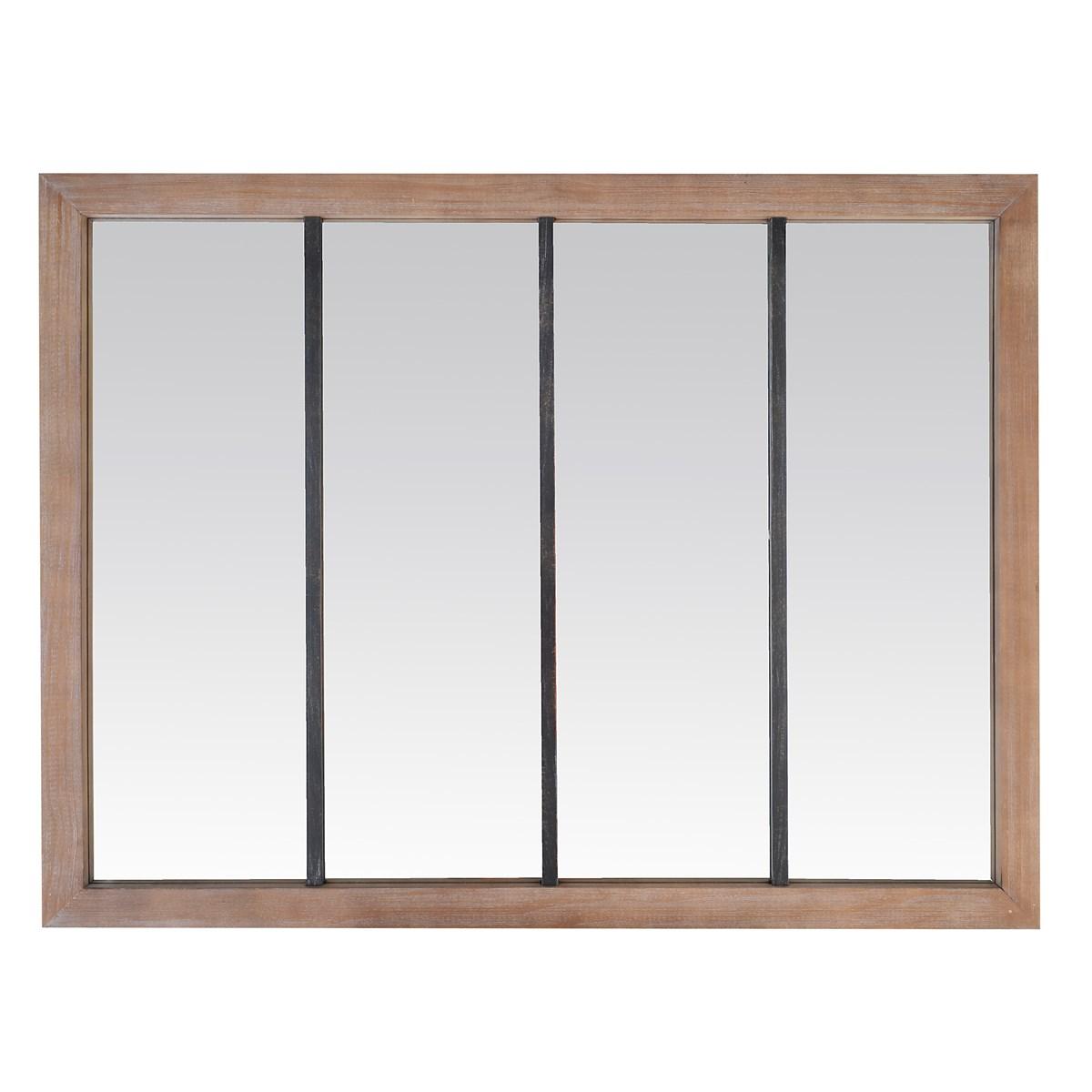 Miroir 4 bandes en bois et métal 120x90