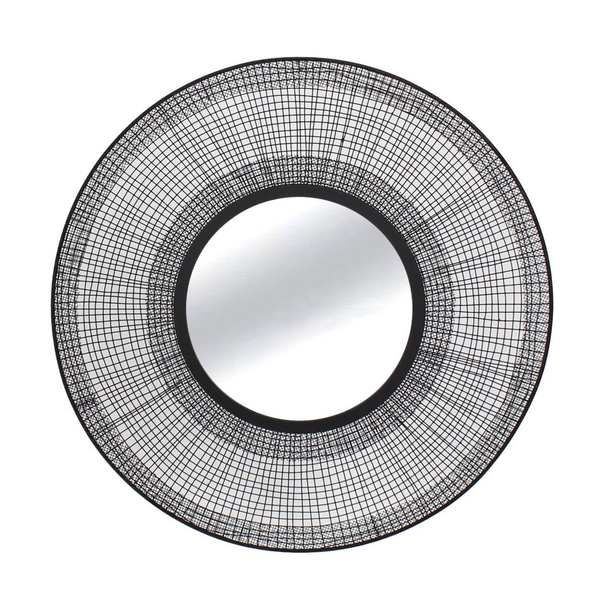 Miroir rond contour filaire en métal noir D60