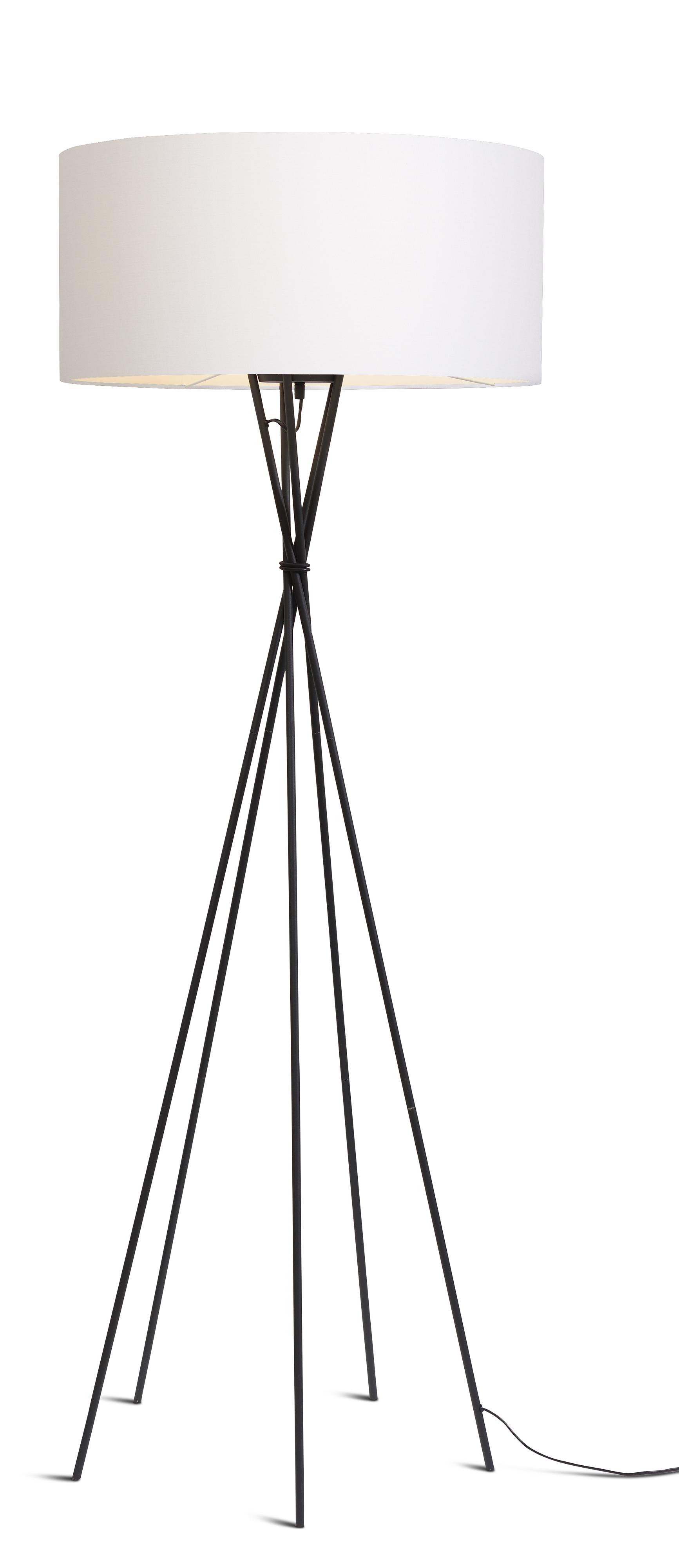 Lampadaire avec pieds noirs et abat-jour blanc H175cm