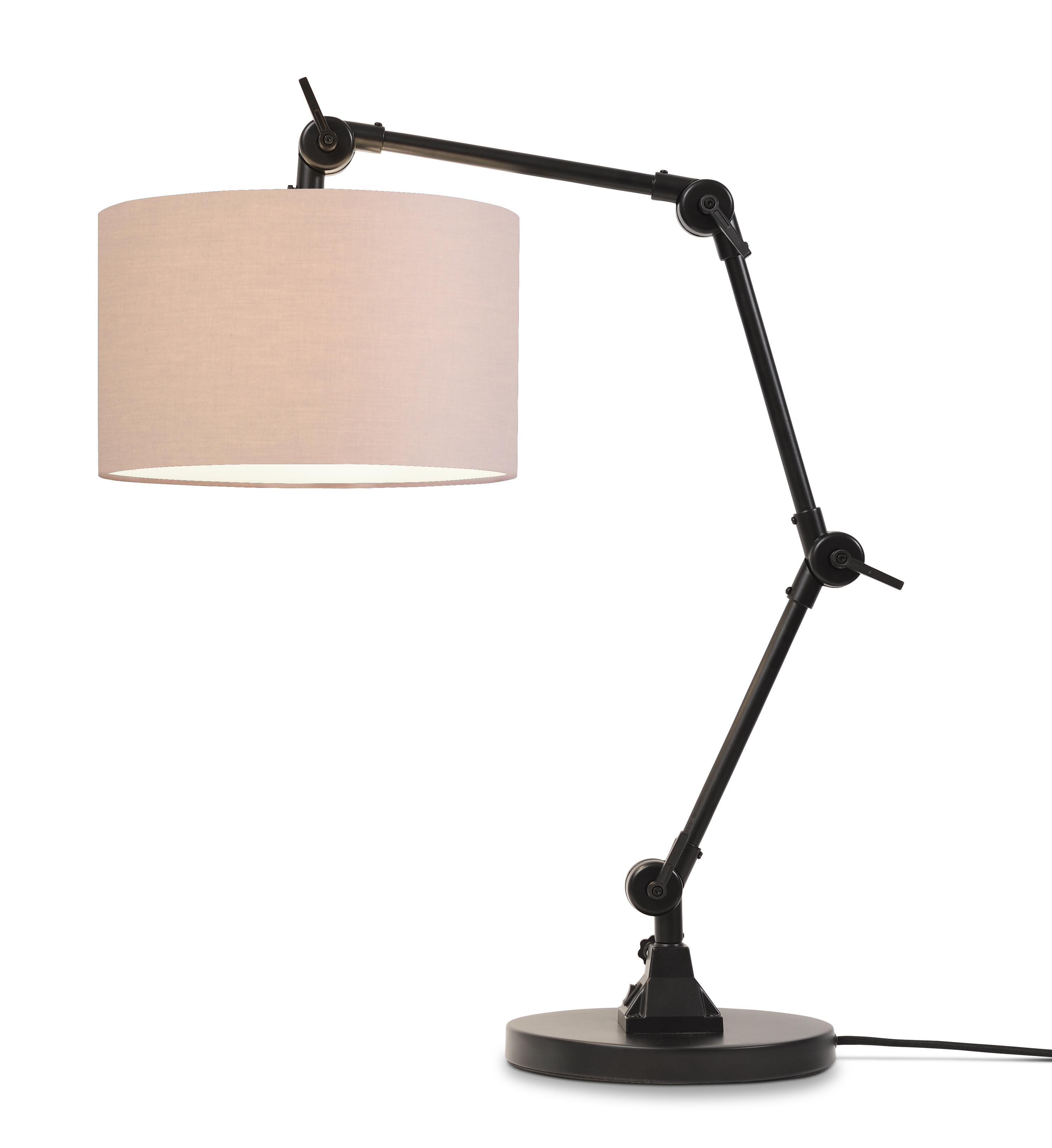 Lampe de table noire flexible et abat-jour beige H100cm