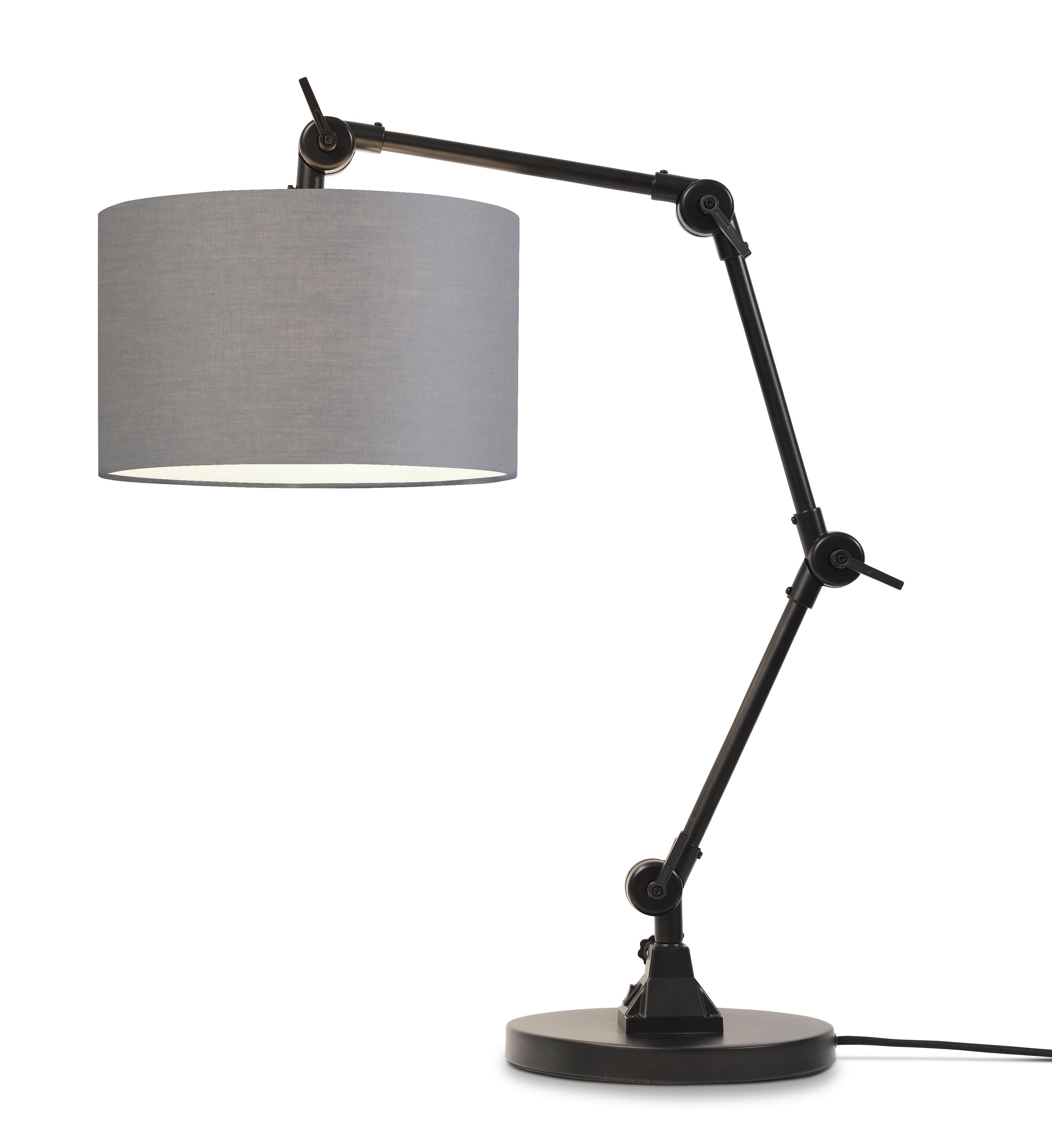 Lampe de table noire flexible et abat-jour gris H100cm