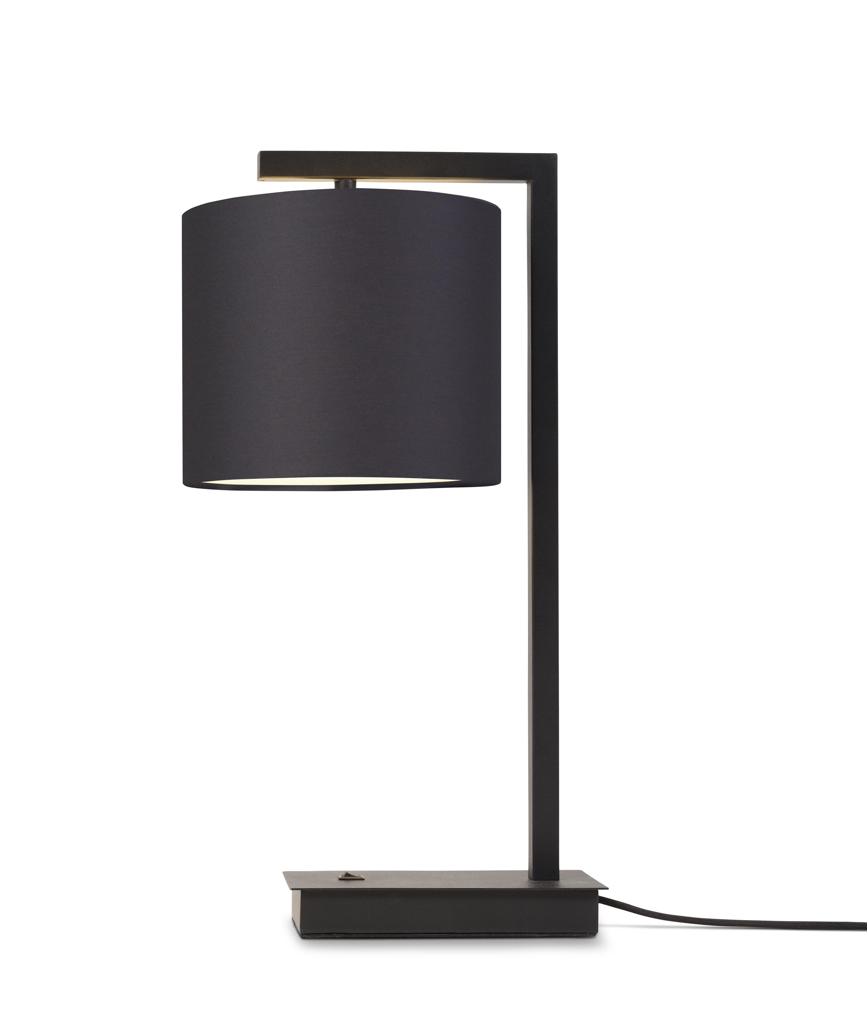 Lampe de table noire et abat-jour H44cm
