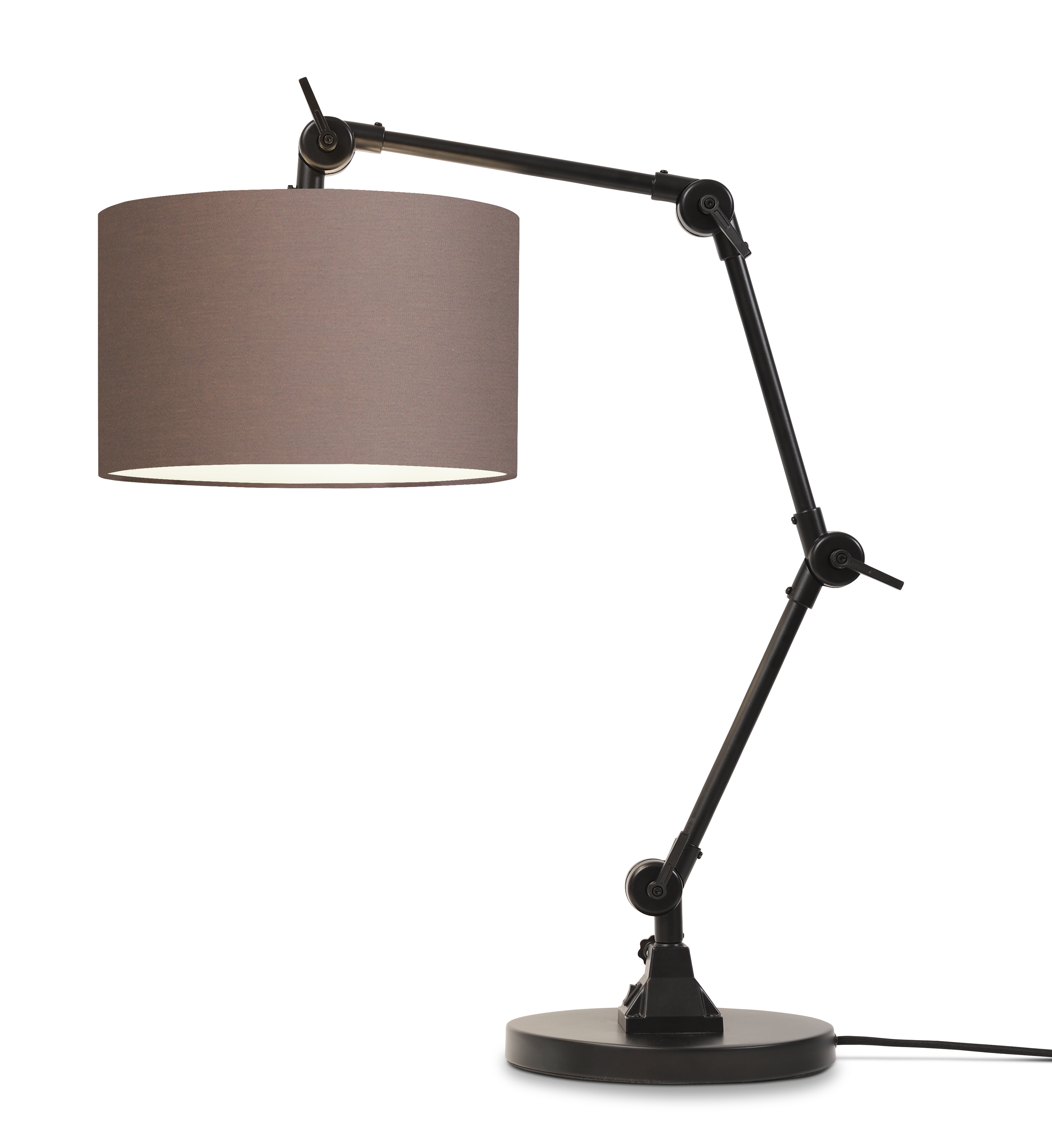 Lampe de table noire flexible et abat-jour H100cm