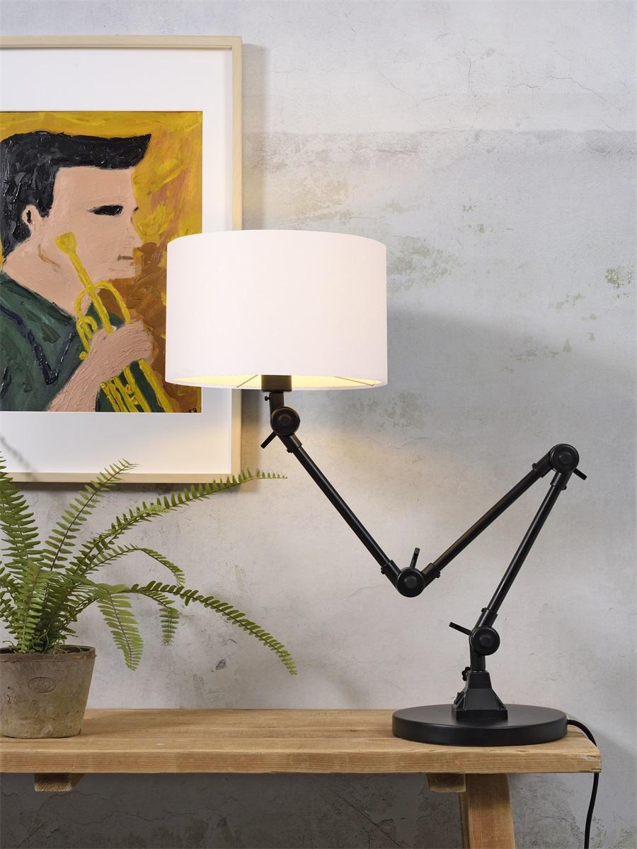 Lampe de table noire flexible et abat-jour blanc H100cm