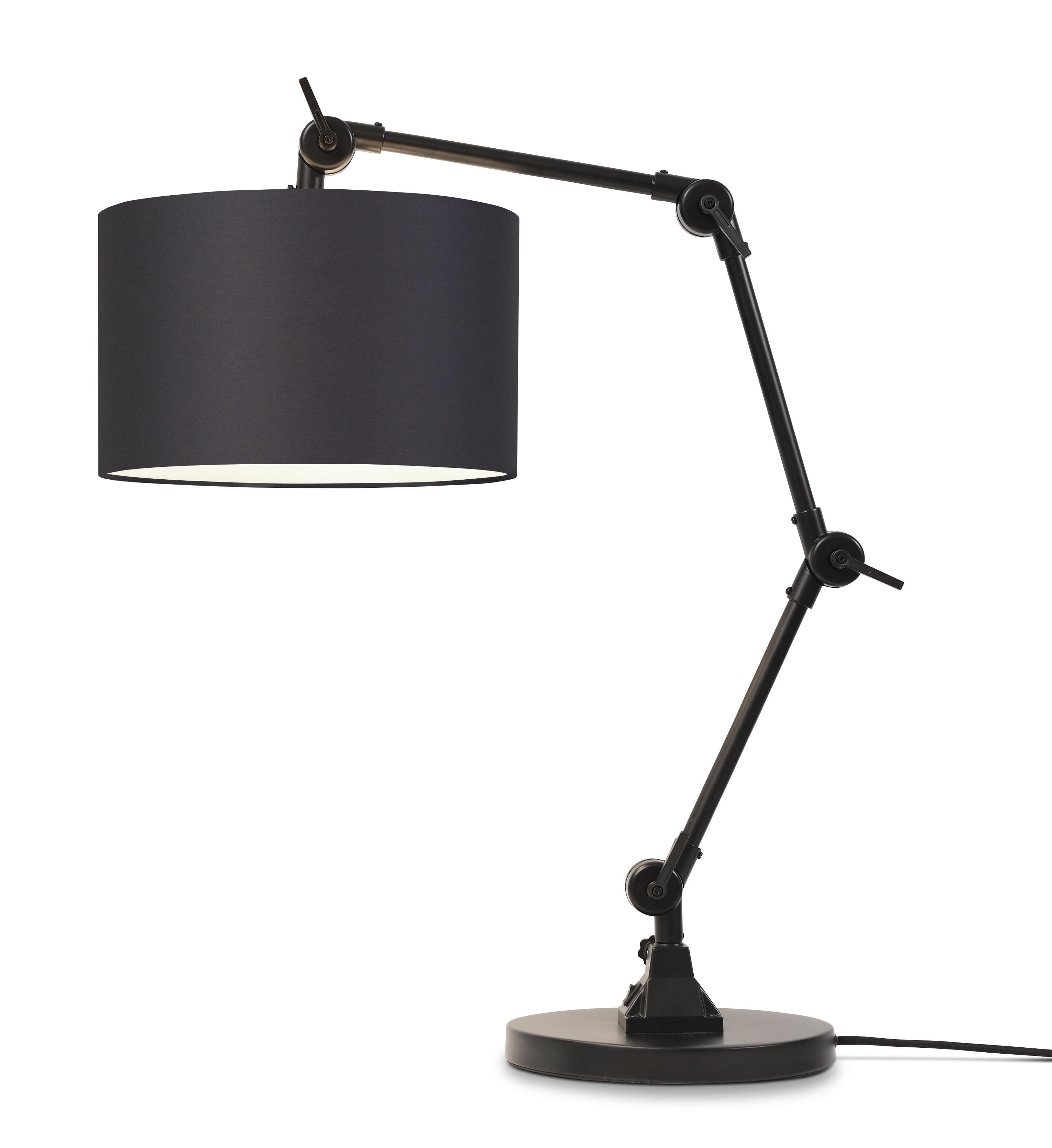 Lampe de table noire flexible et abat-jour noir H100cm