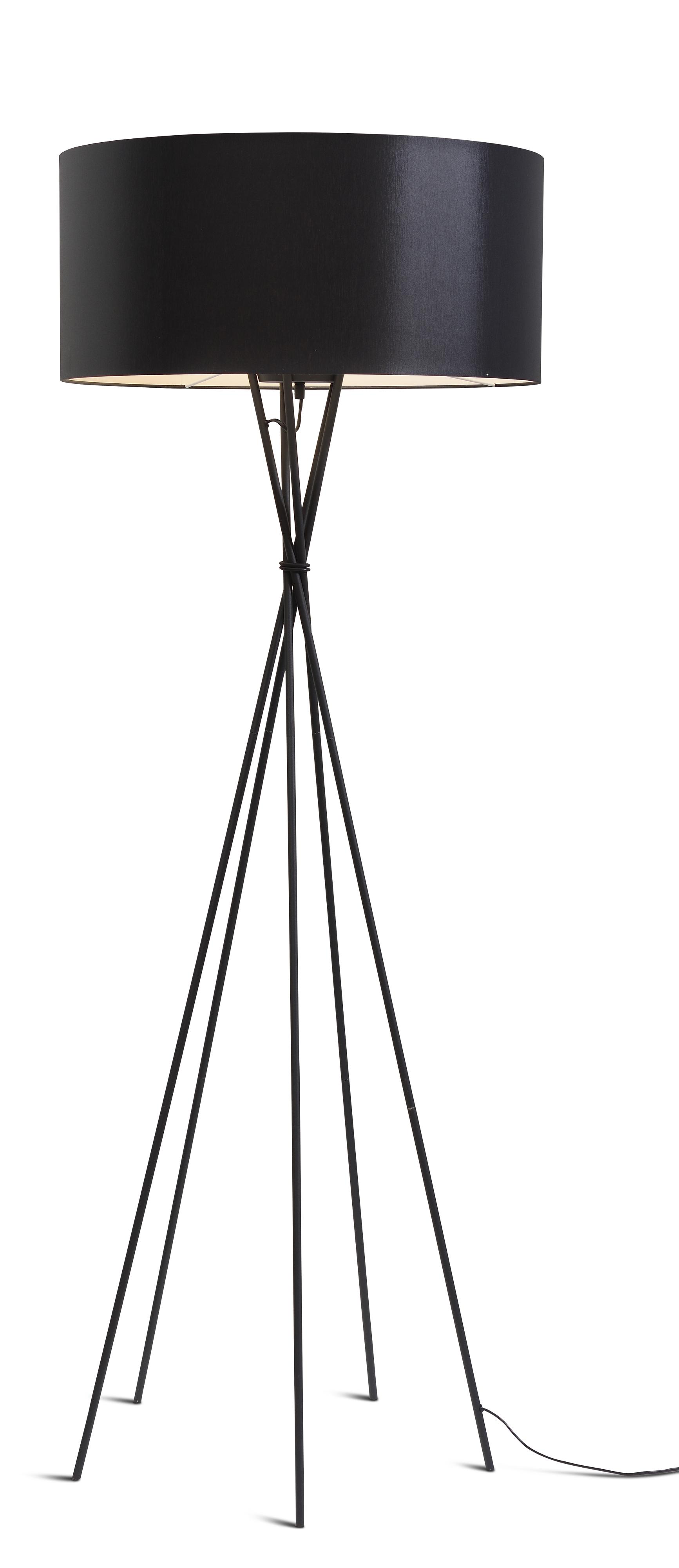 Lampadaire avec pieds noirs et abat-jour noir H175cm