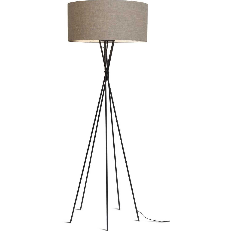 Lampadaire avec pieds noirs et abat-jour gris H175cm