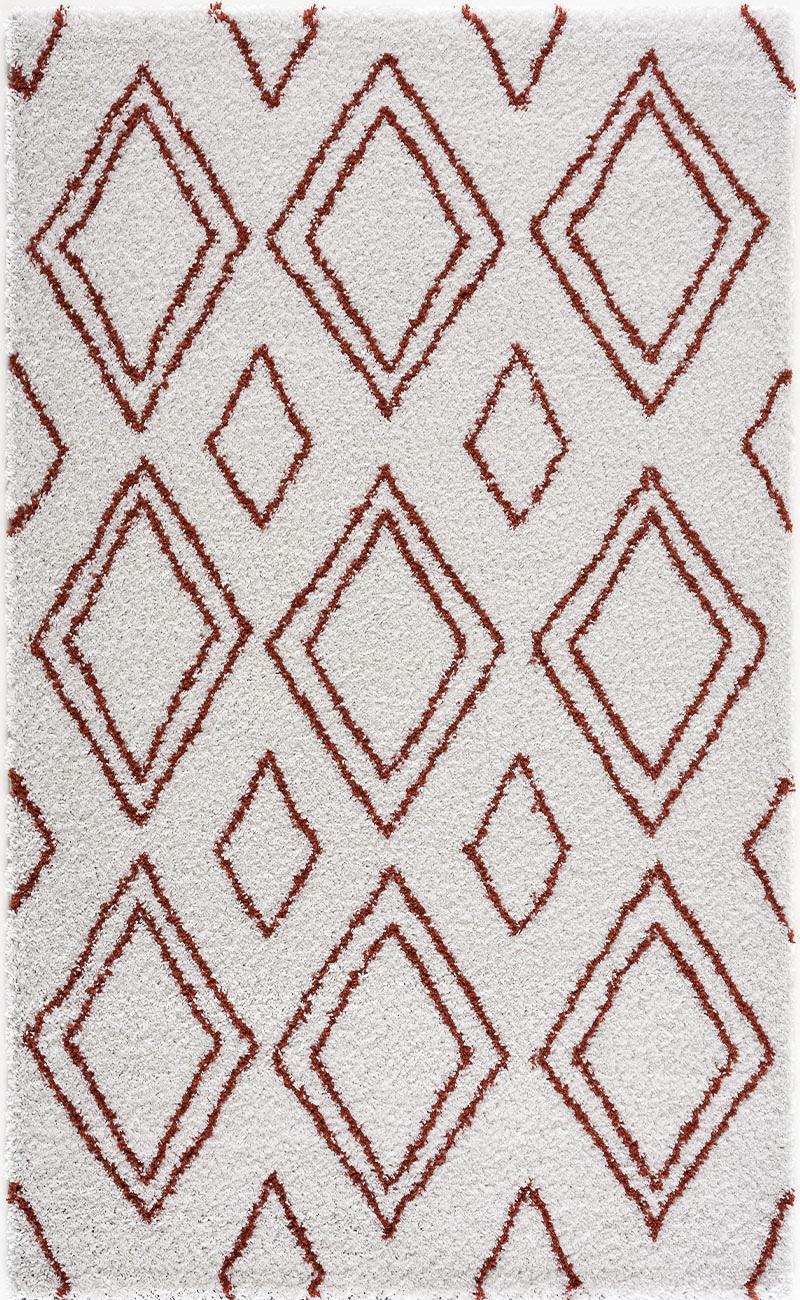 Tapis shaggy salon en laine artificielle terracotta 200X280
