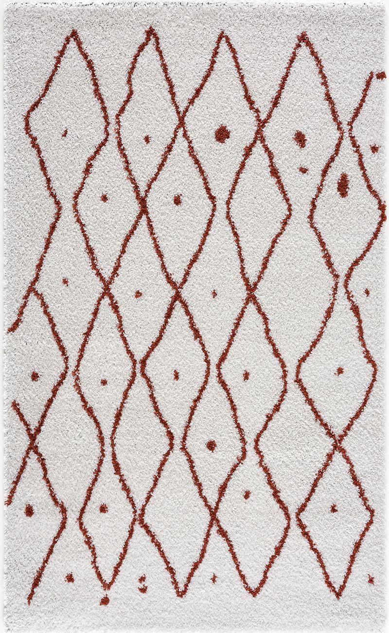 Tapis shaggy salon en laine artificielle terracotta 160X230