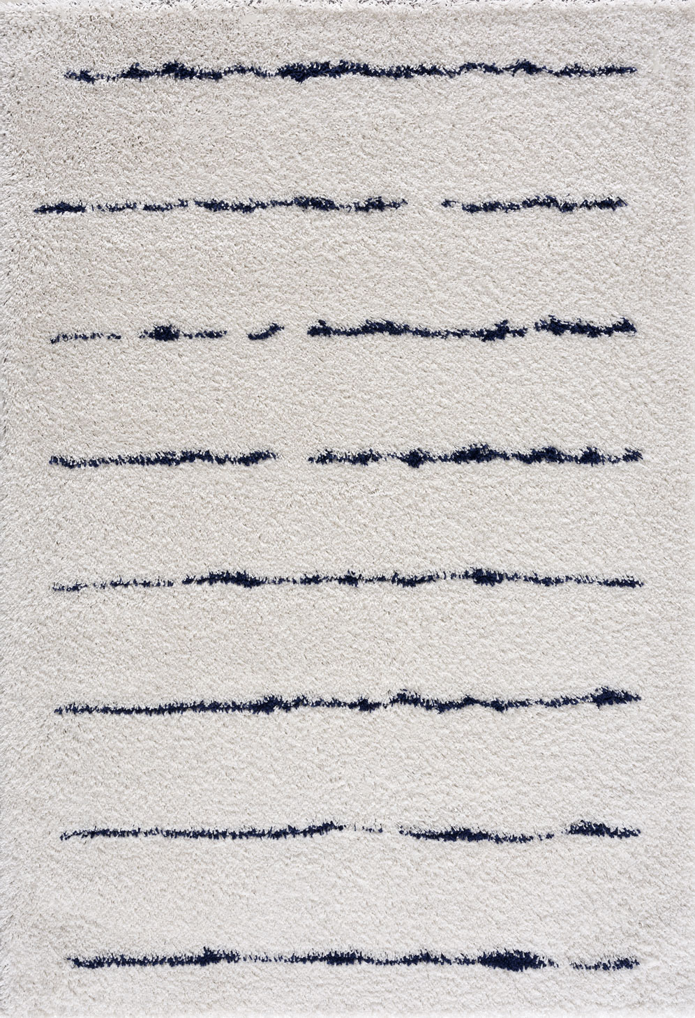 Tapis shaggy salon en laine artificielle bleu ligné 160X230