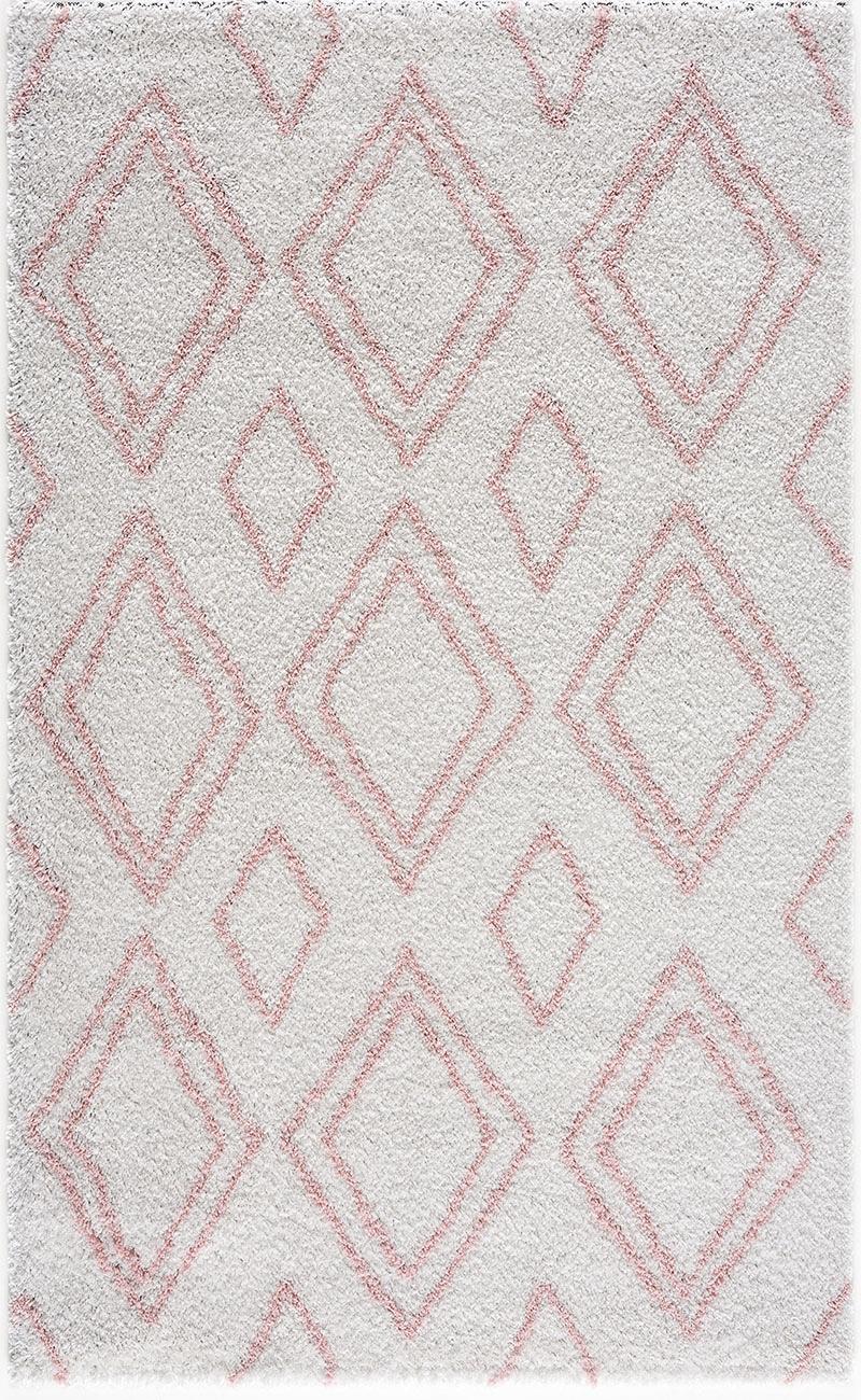 Tapis shaggy salon en laine artificielle rose losange 160X230