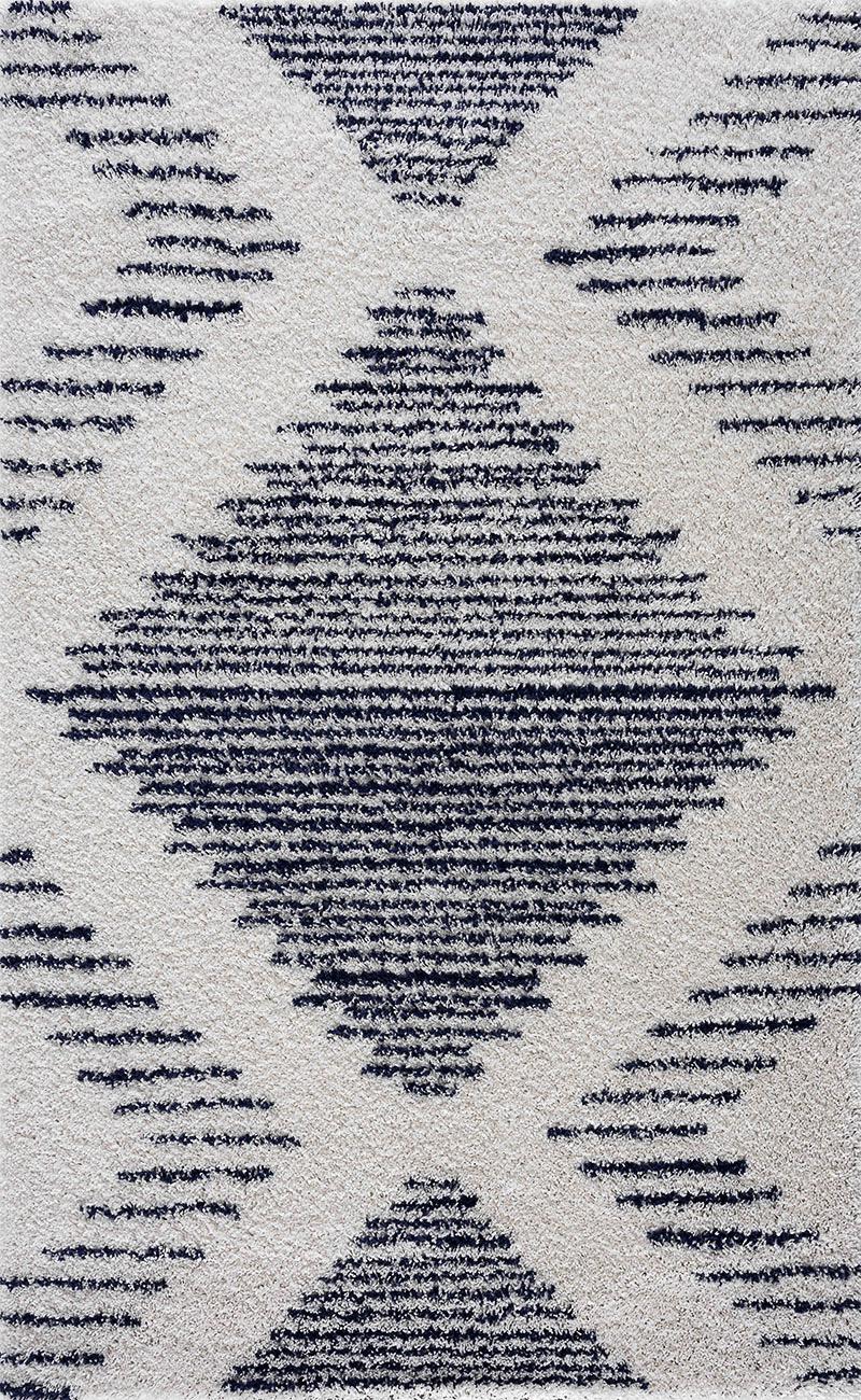 Tapis shaggy salon en laine artificielle bleu indigo 200X280