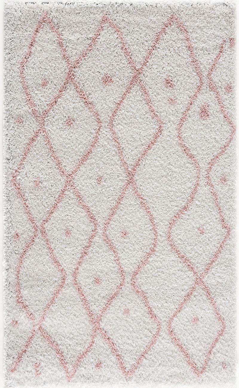 Tapis shaggy salon en laine artificielle rose tout doux 120X160