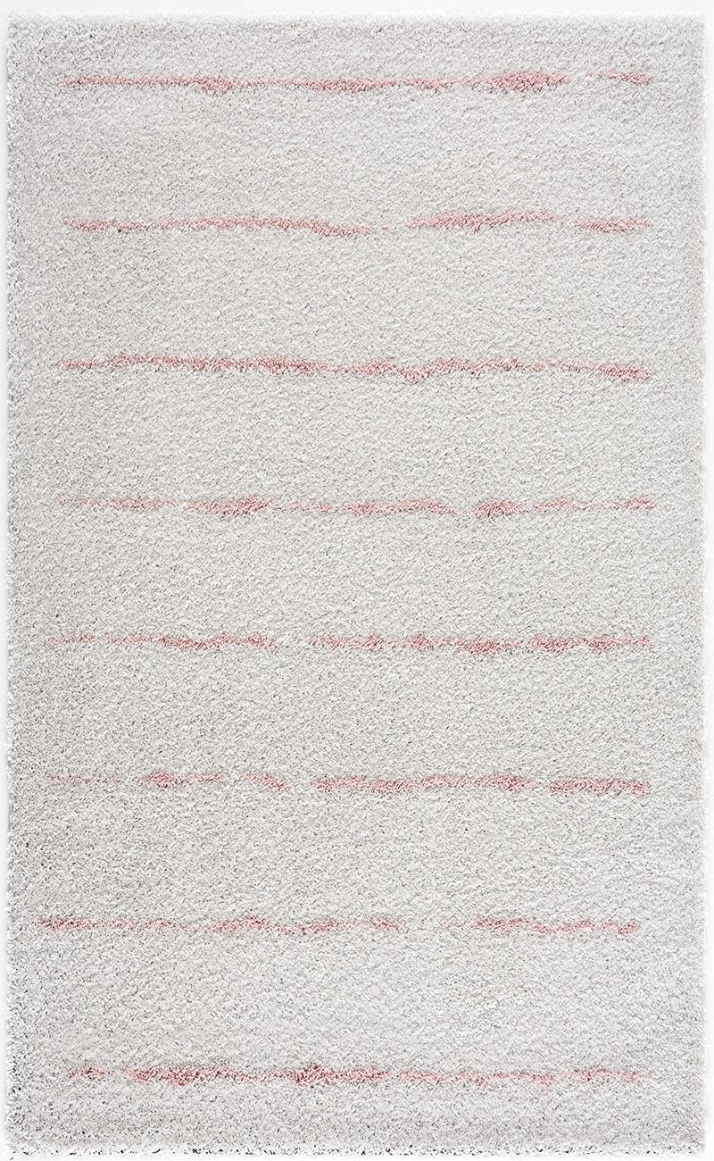 Tapis shaggy salon en laine artificielle rose ligné 120X160
