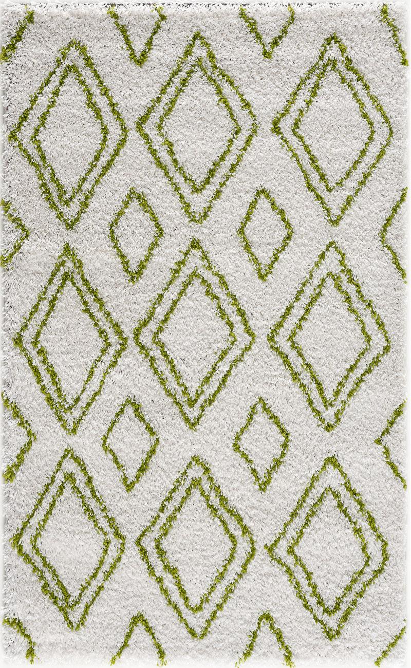 Tapis shaggy salon en laine artificielle vert prairie 160X230