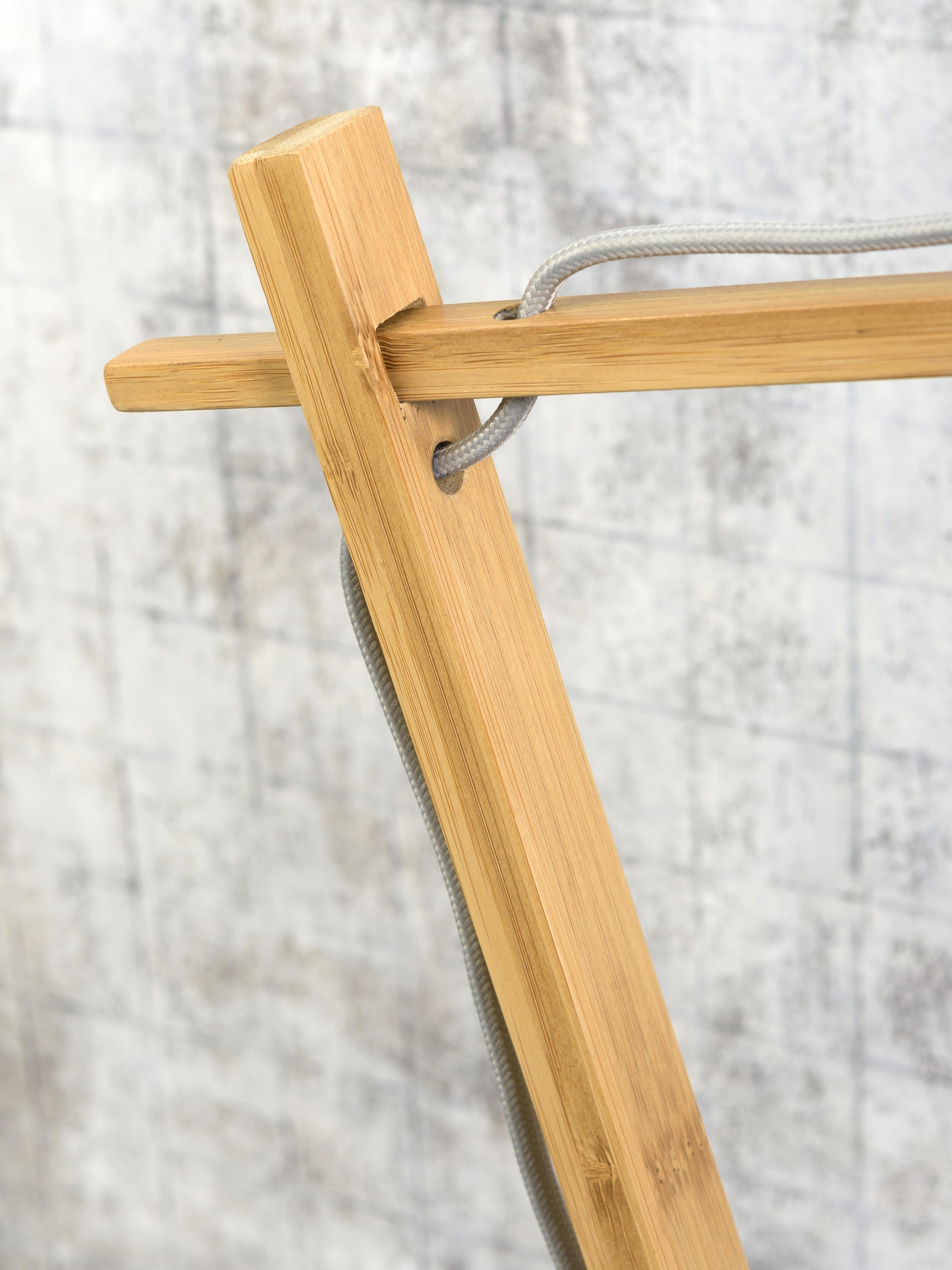 Lampe de table bambou/lin bleu H46cm