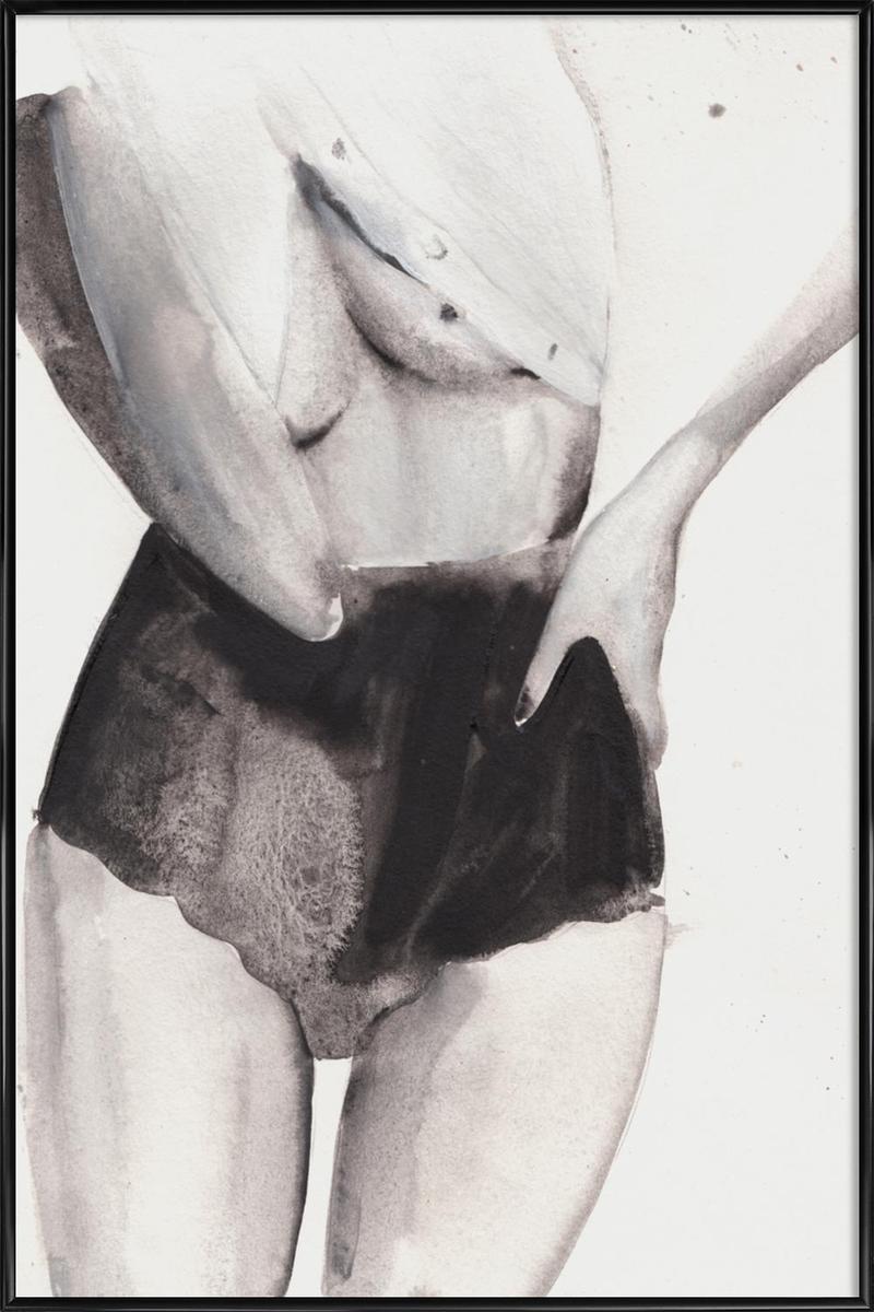 Affiche avec cadre standard (Noir) en Blanc & Gris/60x90