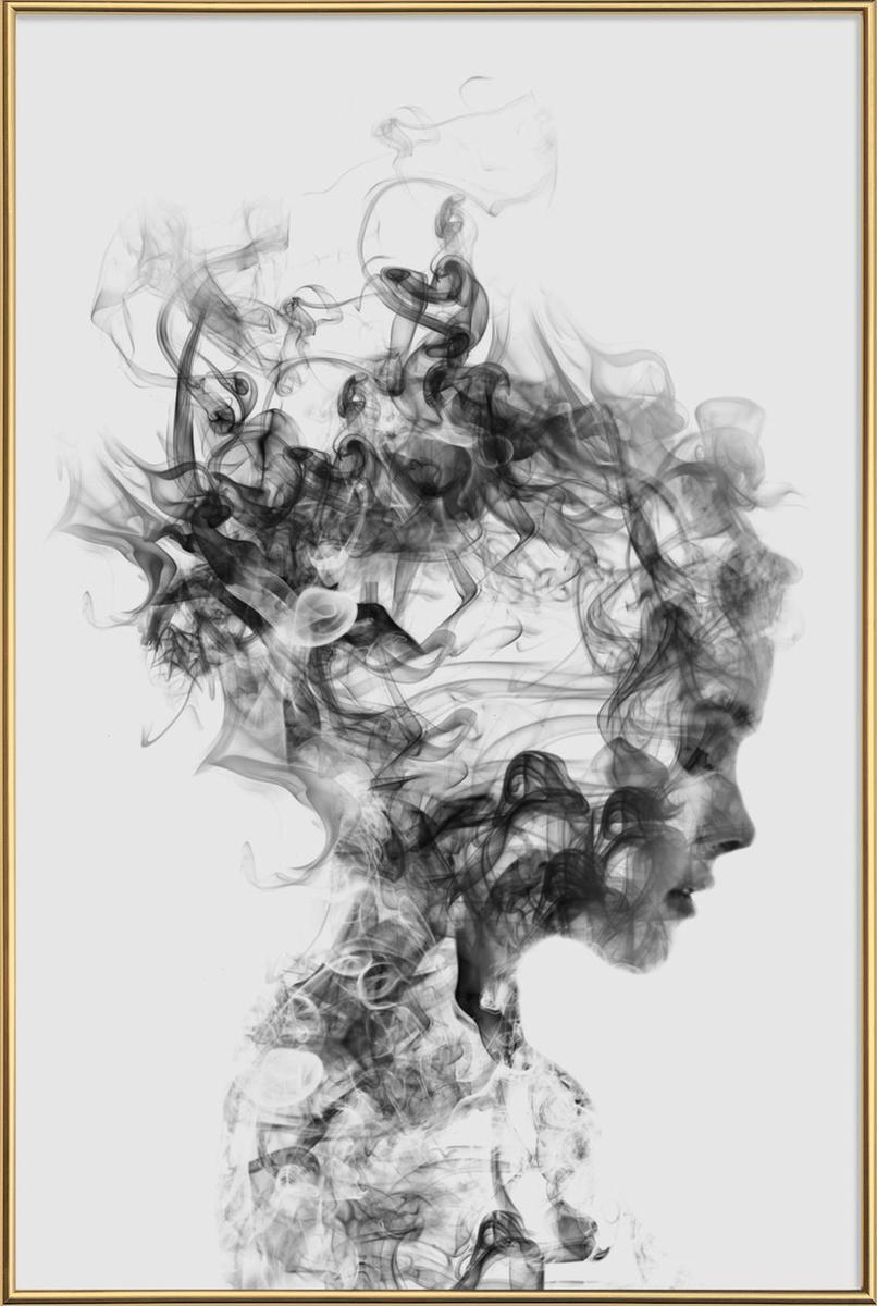 Affiche avec cadre standard (Doré) en Blanc & Gris/60x90