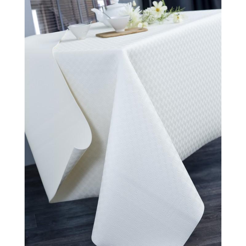 Protège table PVC blanc ronde 135 cm
