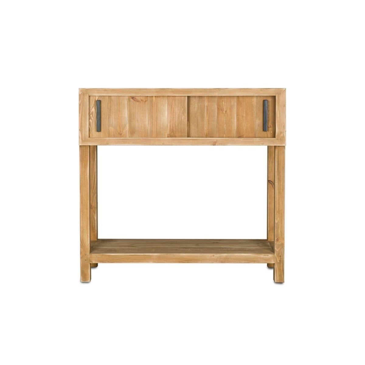 Console 2 portes coulissantes pin massif bois vieilli