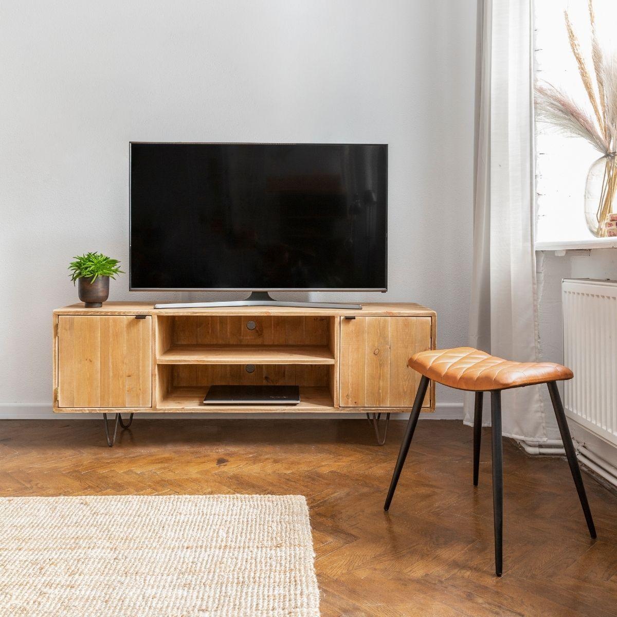 Meuble TV 2 portes pin massif pied acier bois vieilli