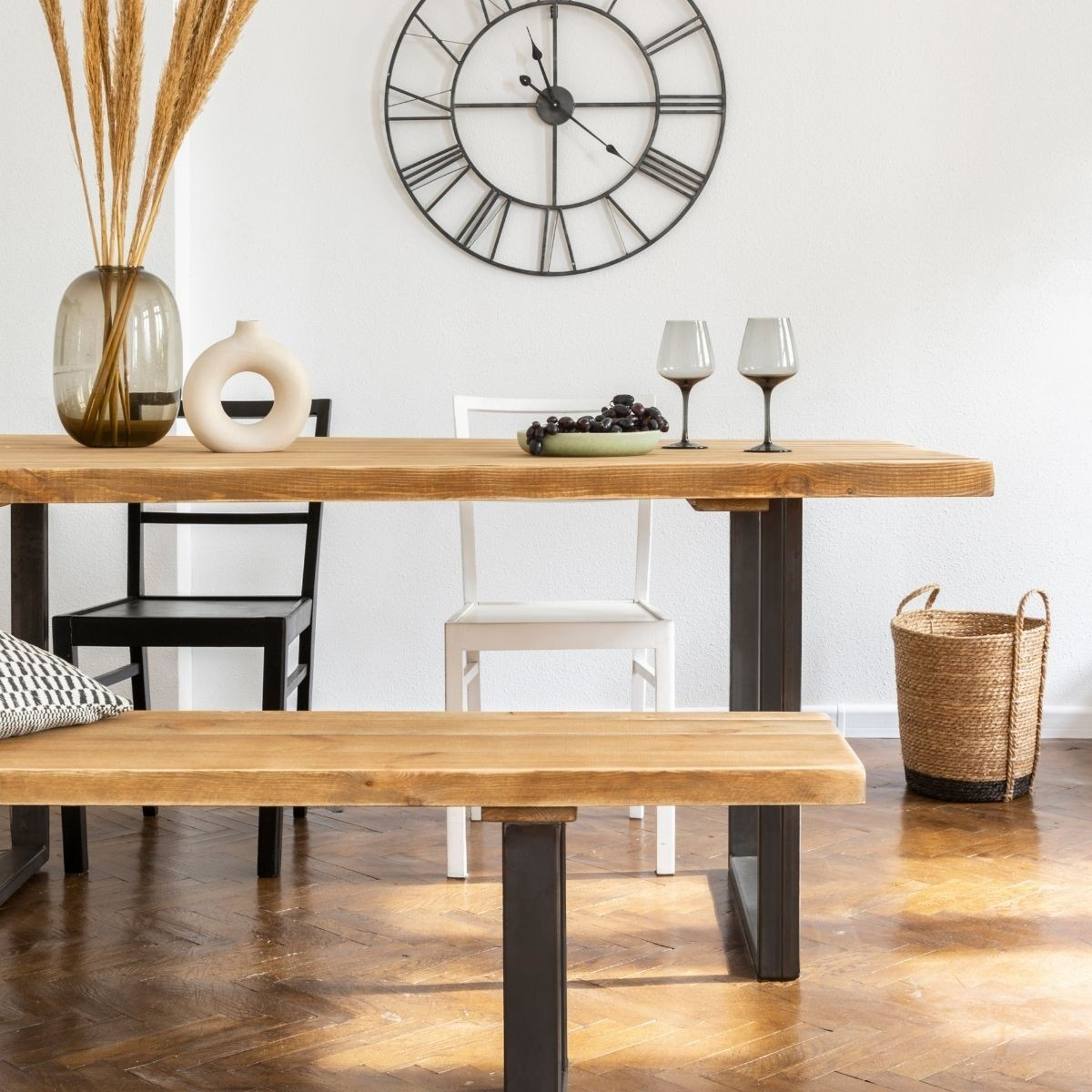 Table à manger 6 personnes pin massif bois vieilli