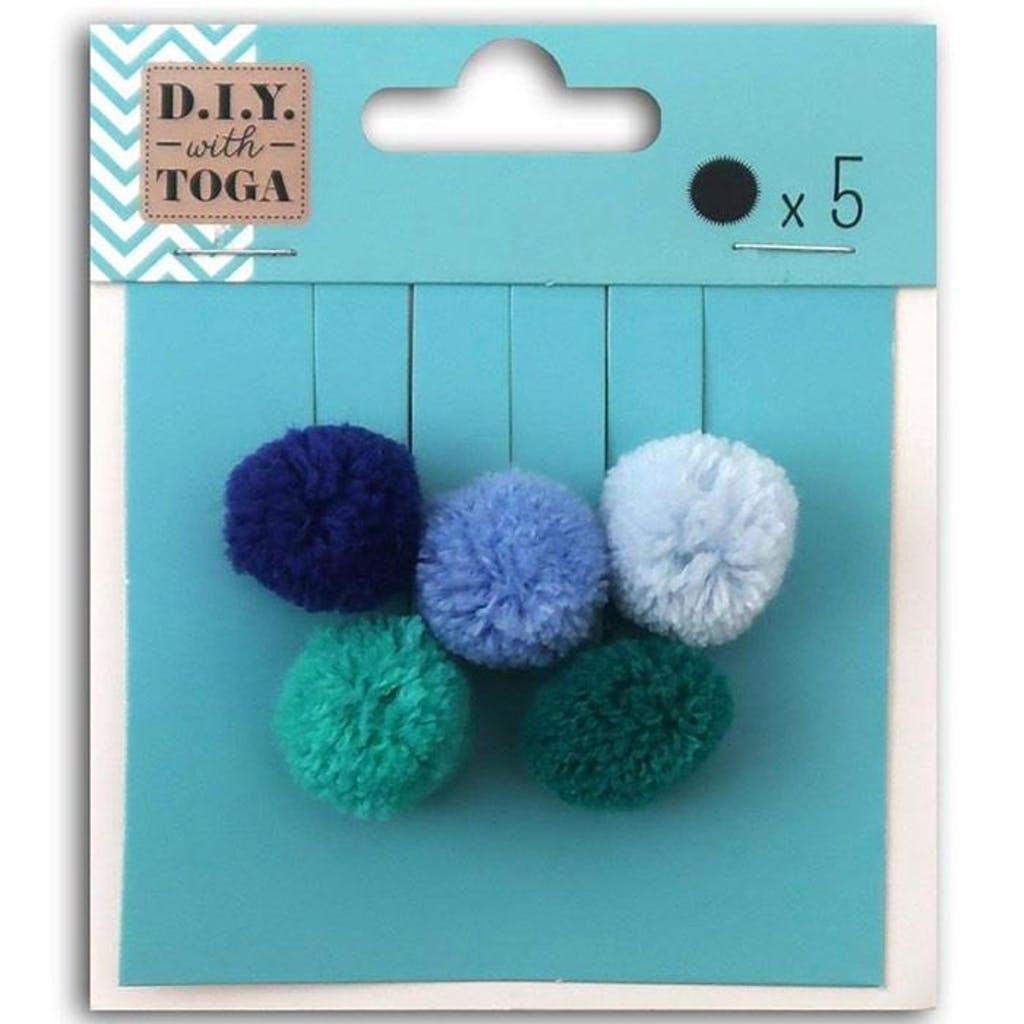 5 pompons ronds en laine 2cm