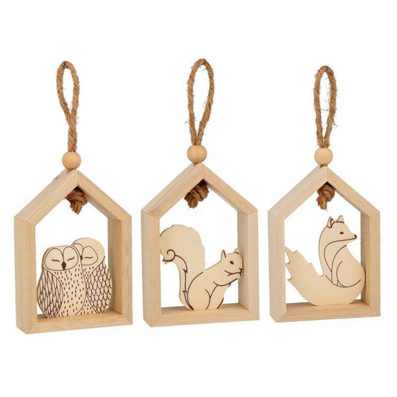 Suspensions maisons en bois renard, chouette et écureuil
