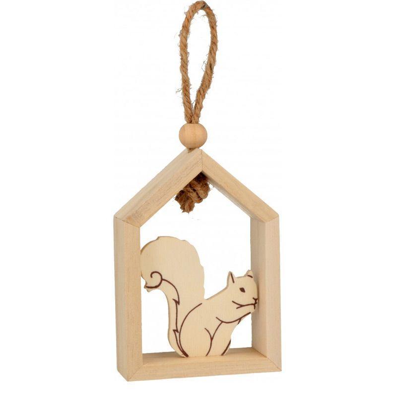 Suspension en bois maison écureuil 15x12cm