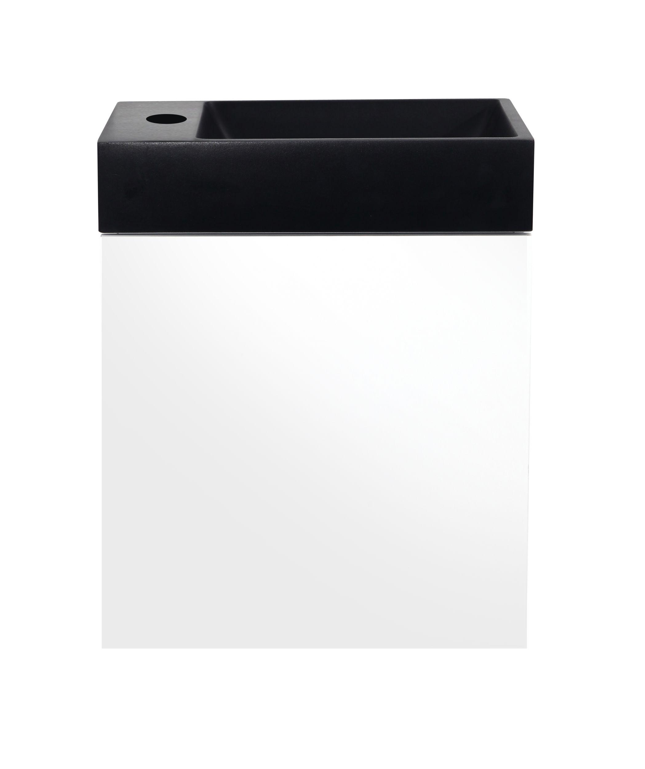 Meuble lave-mains blanc avec vasque noire
