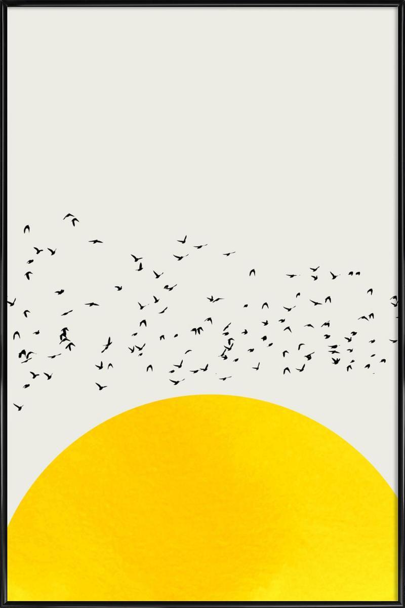 Affiche avec cadre standard (Noir) en Jaune/20x30